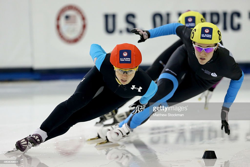 Jessica Smith #801 (red helmet) skates in the second ladies 1,000 meter semifinal during the U.S. Olympic Short Track Trials at the Utah Olympic Oval on January 5, 2014 in Salt Lake City, Utah.