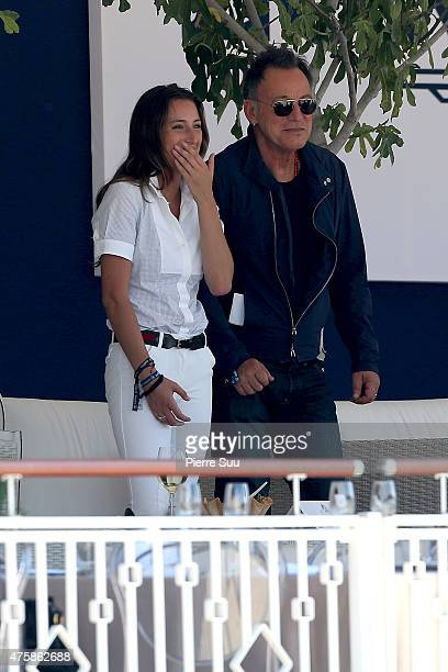 Jessica Springsteen and her father Bruce Springsteen at The Longines Athina Onassis Horse Show on June 4 2015 in SaintTropez France