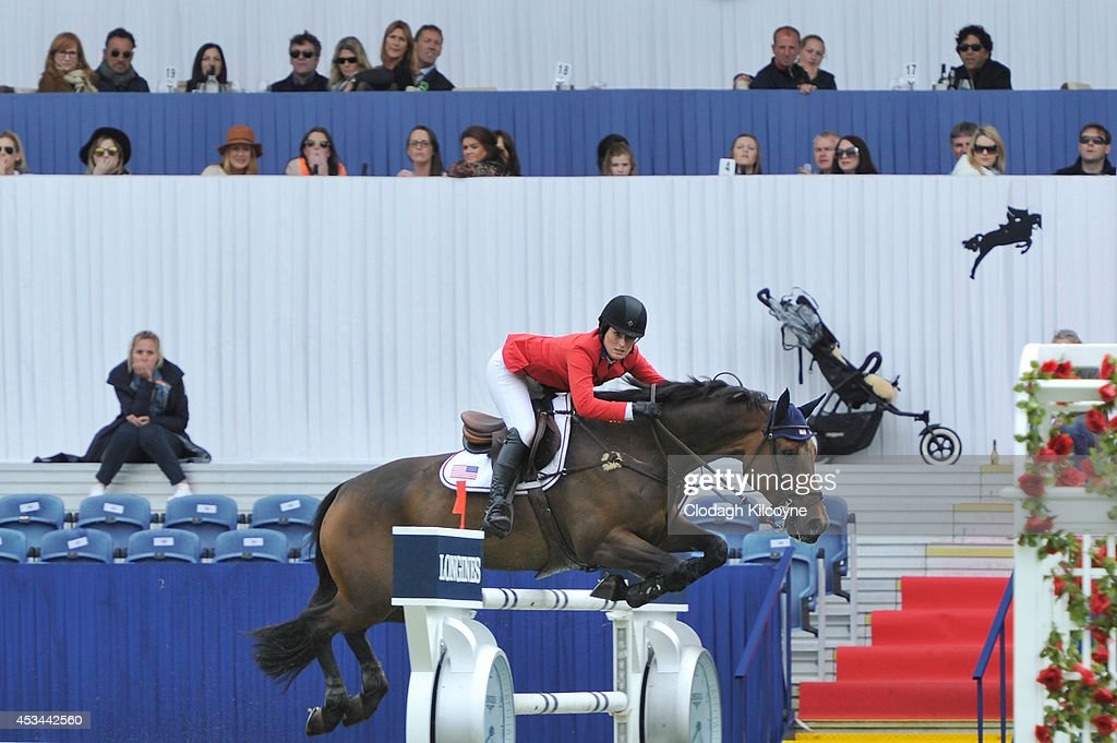 <a gi-track='captionPersonalityLinkClicked' href=/galleries/search?phrase=Jessica+Springsteen+-+Equestrian&family=editorial&specificpeople=5635588 ng-click='$event.stopPropagation()'>Jessica Springsteen</a> and Vindicat W compete in the Longines International Grand Prix of Ireland but fail to place on the final day of the Dublin Horse Show 2014 on August 10, 2014 in Dublin, Ireland.