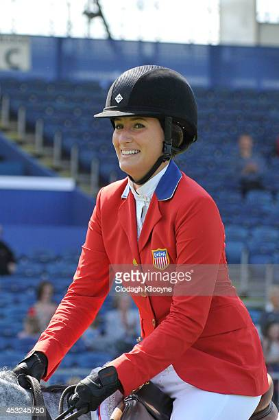 Jessica Springsteen competes during the Speed Stakes International Competition 1 at the Dublin Horse Show 2014 on August 6 2014 in Dublin Ireland