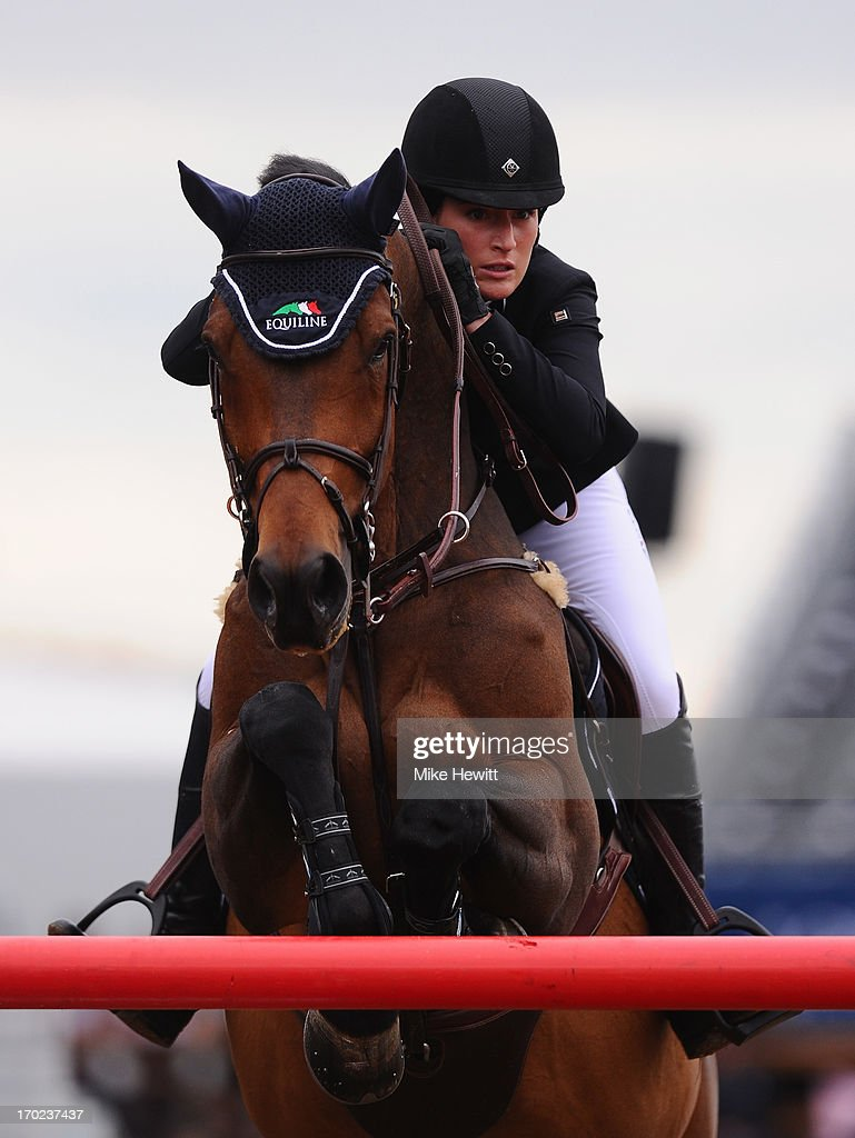 Jessica Springsteen of US on Vindicat W in action during the Longines Global Champions Tour of London on Day Four at Olympic Park on June 9, 2013 in London, England.