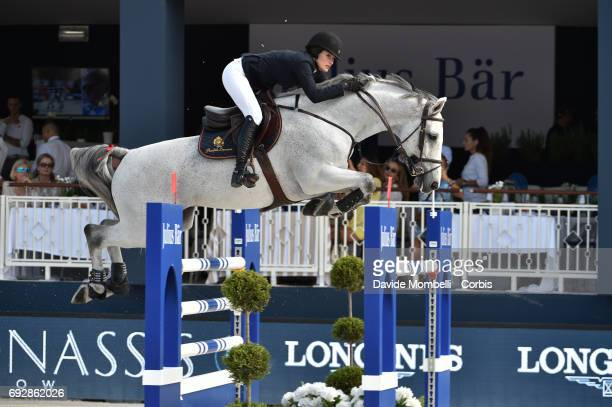Jessica Springsteen of USA riding Cynar Va during the Longines Grand Prix at the Athina Onassis Horse Show on June 3 2017 in St Tropez France