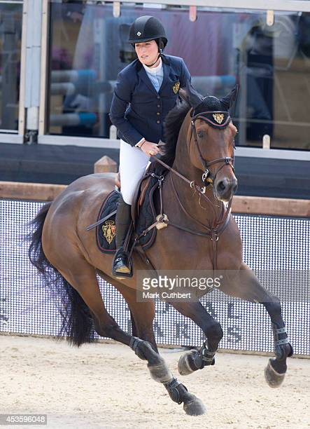 Jessica Springsteen riding 'Vindicat W' during the Longines Global Champions Tour at Horse Guards Parade on August 14 2014 in London England