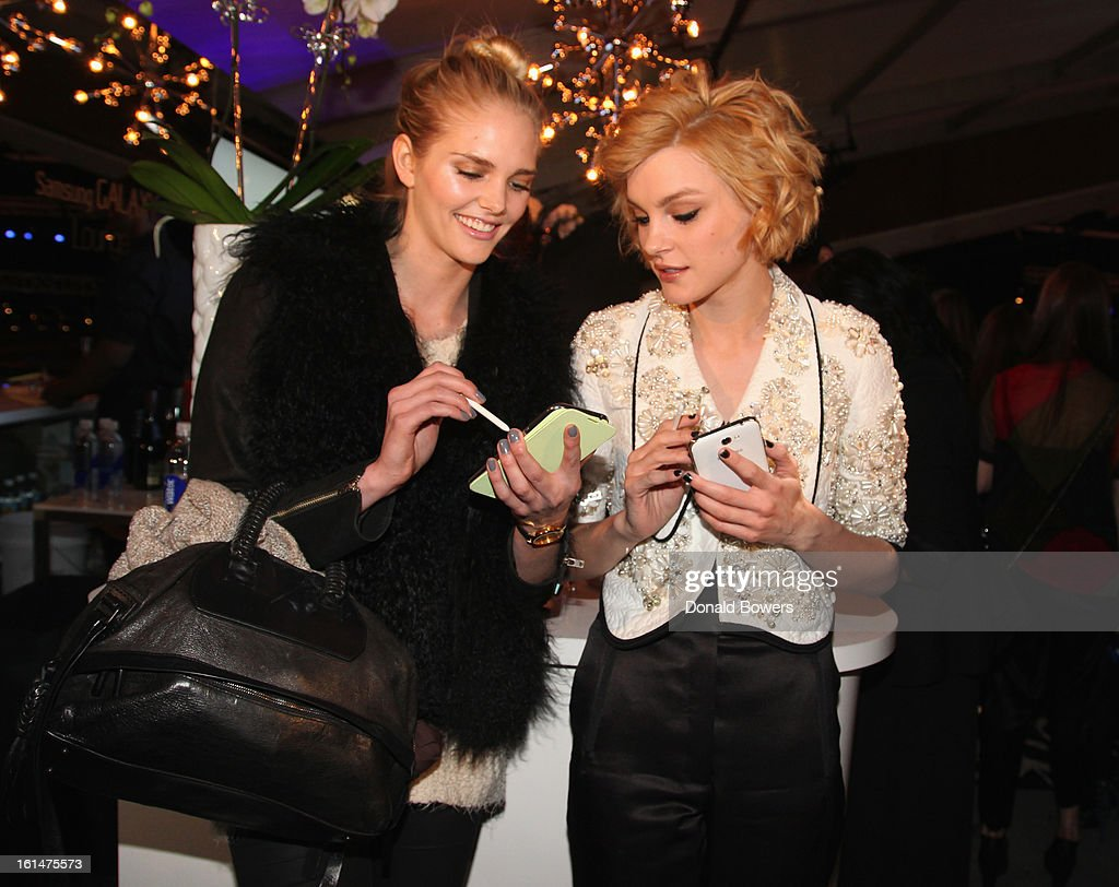 <a gi-track='captionPersonalityLinkClicked' href=/galleries/search?phrase=Jessica+Stam&family=editorial&specificpeople=657570 ng-click='$event.stopPropagation()'>Jessica Stam</a> and Dani Seitz attend the Samsung Galaxy Lounge VIP Reception at Mercedes-Benz Fashion Week Fall 2013 at Lincoln Center on February 10, 2013 in New York City.