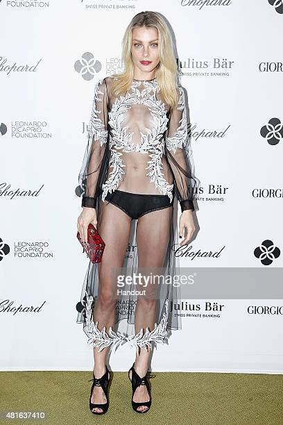 Jessica Stam attends a cocktail reception during The Leonardo DiCaprio Foundation 2nd Annual SaintTropez Gala at Domaine Bertaud Belieu on July 22...