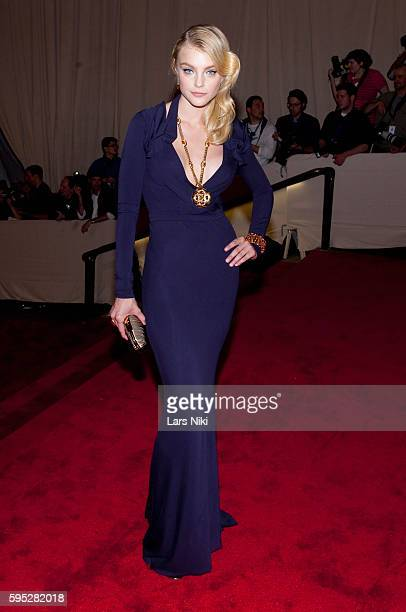 Jessica Stam attends 'American Woman Fashioning A National Identity' Costume Institute Gala at The Metropolitan Museum of Art in New York City