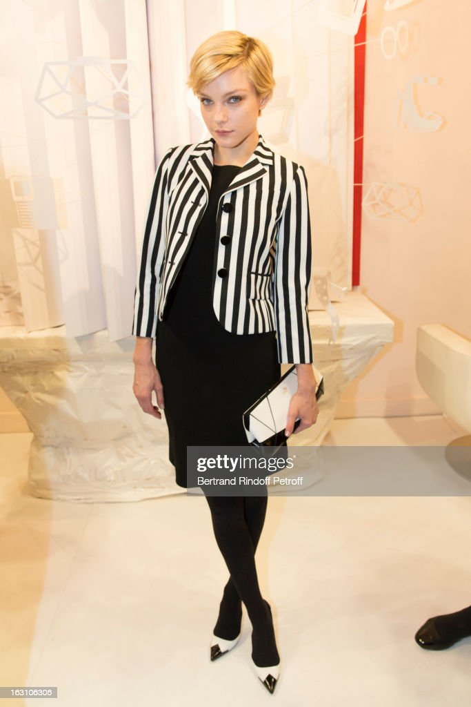<a gi-track='captionPersonalityLinkClicked' href=/galleries/search?phrase=Jessica+Stam&family=editorial&specificpeople=657570 ng-click='$event.stopPropagation()'>Jessica Stam</a> attends the Roger Vivier Cocktail, to celebrate the launch of the book 'Roger Vivier', as part of Paris Fashion Week on March 4, 2013 in Paris, France.