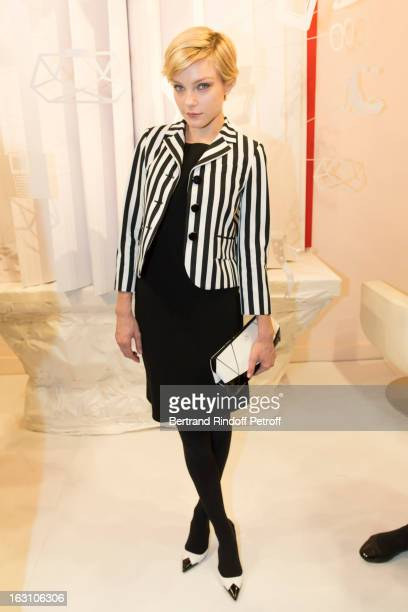 Jessica Stam attends the Roger Vivier Cocktail to celebrate the launch of the book 'Roger Vivier' as part of Paris Fashion Week on March 4 2013 in...