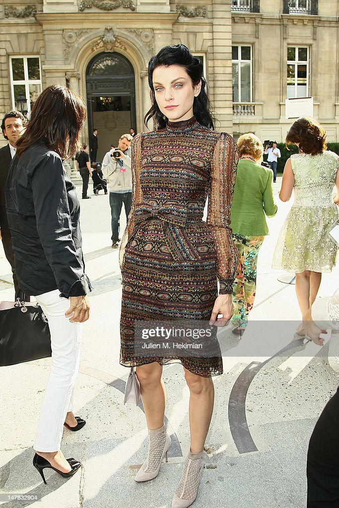 Jessica Stam attends the Valentino Haute-Couture Show as part of Paris Fashion Week Fall / Winter 2012/2013 at Hotel Salomon de Rothschild on July 4, 2012 in Paris, France.
