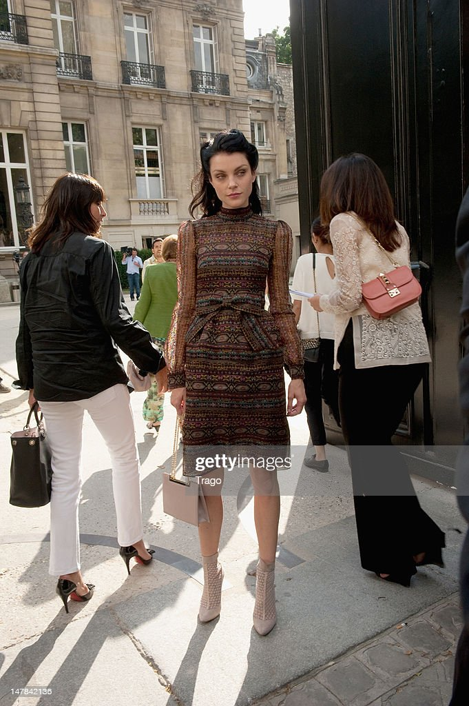 Jessica Stam attends Valentino Haute-Couture Show as part of Paris Fashion Week Fall / Winter 2013 at Hotel Salomon de Rothschild on July 4, 2012 in Paris, France.