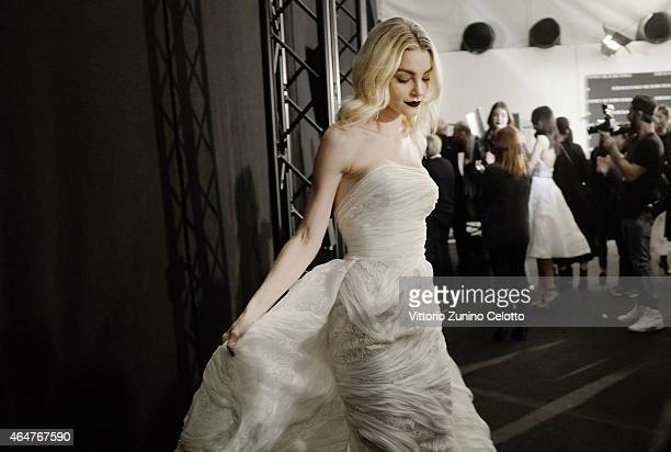 Jessica Stam is seen backstage ahead of the Ermanno Scervino show during the Milan Fashion Week Autumn/Winter 2015 on February 28 2015 in Milan Italy