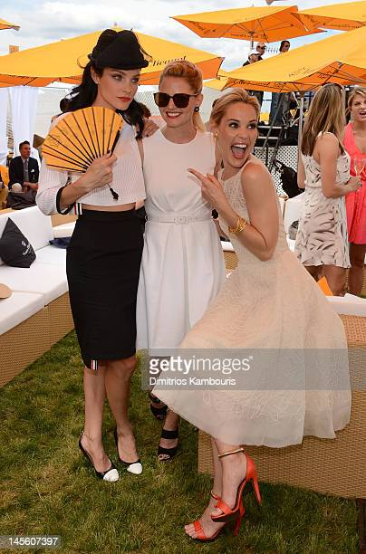 Jessica Stam Jennifer Morrison and Leslie Bibb pose at the VIP Marquee during the fifth Annual Veuve Clicquot Polo Classic on June 2 2012 in Jersey...