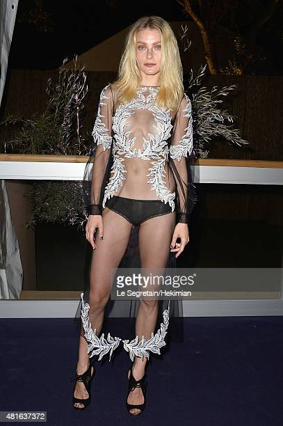 Jessica Stam poses as she attends the Dinner and Auction during theThe Leonardo DiCaprio Foundation 2nd Annual SaintTropez Gala at Domaine Bertaud...