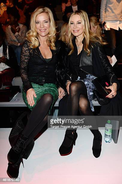 Jessica Stockmann and Xenia Seeberg attend the Glaw show during the MercedesBenz Fashion Week Berlin Autumn/Winter 2015/16 at Brandenburg Gate on...
