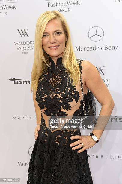Jessica Stockmann attends the Irene Luft show during the MercedesBenz Fashion Week Berlin Autumn/Winter 2015/16 at Brandenburg Gate on January 22...