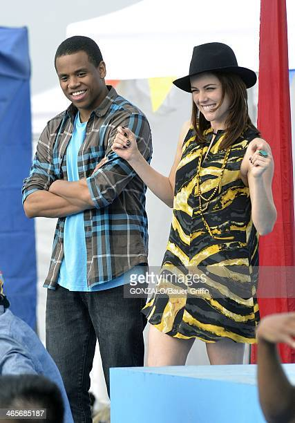 Jessica Stroup and Tristan Wilds are seen on the set of '90210' on December 17 2012 in Los Angeles California