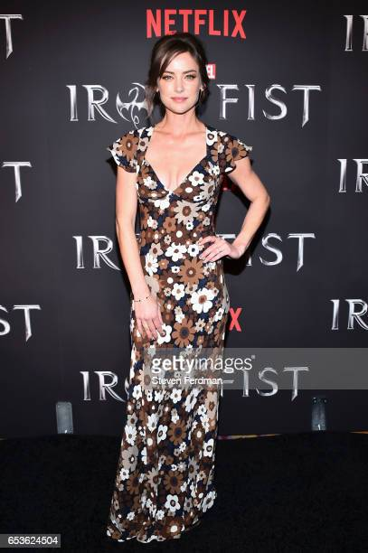 Jessica Stroup arrives at the New York screening of Marvel's 'Iron Fist' at AMC Empire 25 on March 15 2017 in New York City