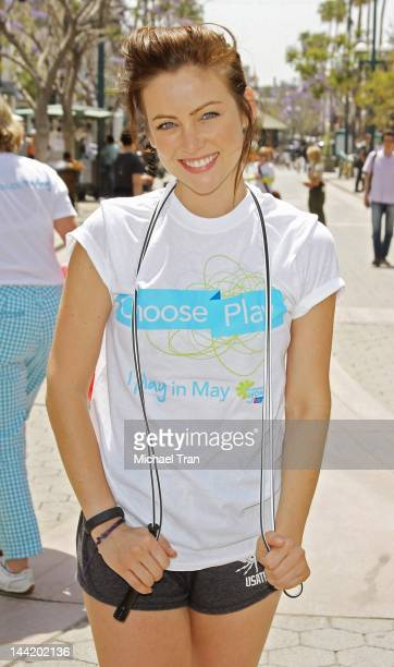 Jessica Stroup attends the American Cancer Society's 'Choose Your Movement' event held at 3rd Street Promenade on May 11 2012 in Santa Monica...