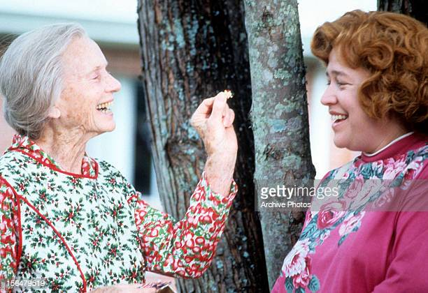 Jessica Tandy laughing with Kathy Bates in a scene from the film 'Fried Green Tomatoes' 1991