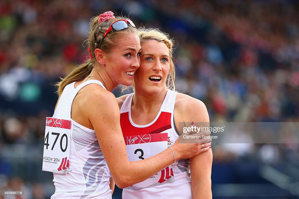 Jessica Tappin of England congratulates Jessica Taylor of England after she won bronze in the Women's Heptathlon at Hampden Park during day seven of the Glasgow 2014 Commonwealth Games on July 30, 2014 in Glasgow, United Kingdom.