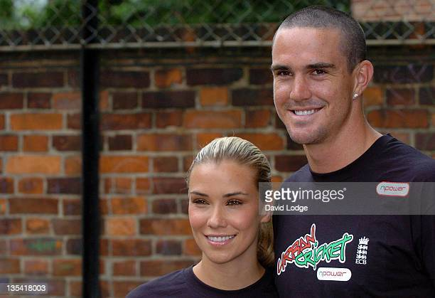 Jessica Taylor and Kevin Pietersen during Urban Cricket Launch Photocall July 10 2006 at Christ Church Bentinck C of E Primary School in London Great...