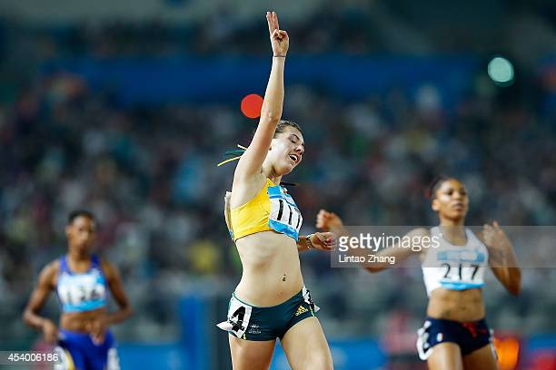 Jessica Thornton of Australia celebrates after the Women's 400m Final of Nanjing 2014 Summer Youth Olympic Games at the Nanjing Olympic Sports Centre...