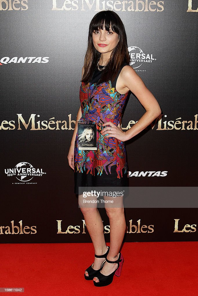 Jessica Tovey walks the red carpet during the Australian premiere of 'Les Miserables' at the State Theatre on December 21, 2012 in Sydney, Australia.
