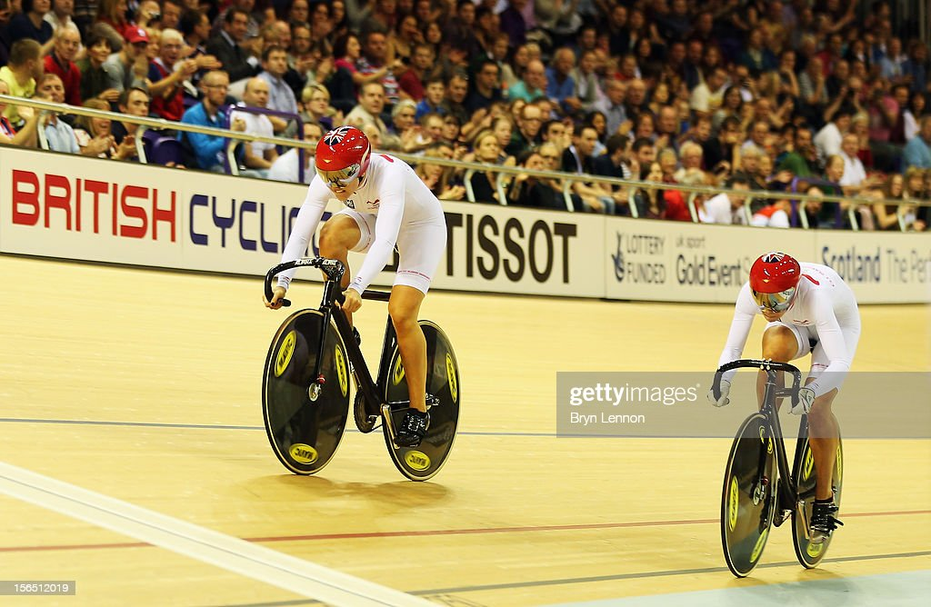 Jessica Varnish and Rebecca James of Great Britain compete in qualifying for the Women's Team Sprint during day one of the UCI Track Cycling World Cup at the Sir Chris Hoy Velodrome on November 16, 2012 in Glasgow, Scotland.