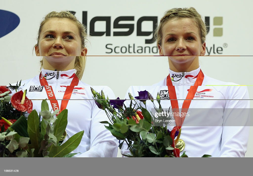 Jessica Varnish and Rebecca James of Great Britain stand on the podium after winning the Women's Team Sprint during day one of the UCI Track Cycling World Cup at the Sir Chris Hoy Velodrome on November 16, 2012 in Glasgow, Scotland.