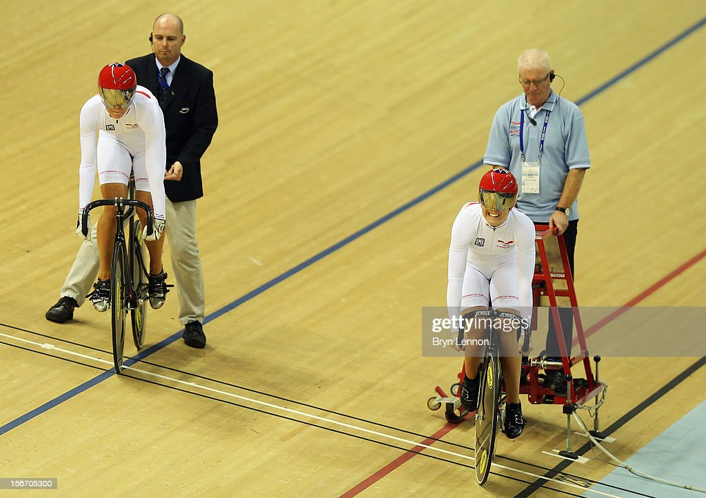 Jessica Varnish (r) and Rebecca James of Great Britain start the Women's Team Sprint during day one of the UCI Track Cycling World Cup at the Sir Chris Hoy Velodrome on November 16, 2012 in Glasgow, Scotland.
