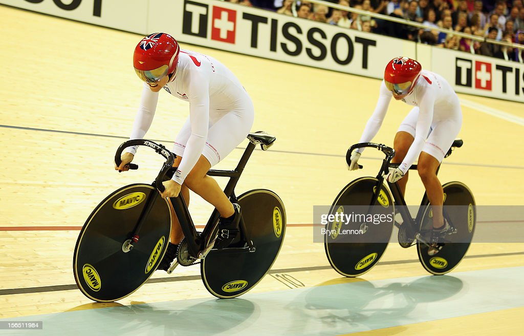 Jessica Varnish leads Great Britain team mate Rebecca James in the Women's Team Sprint during day one of the UCI Track Cycling World Cup at the Sir Chris Hoy Velodrome on November 16, 2012 in Glasgow, Scotland.