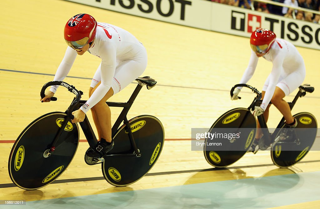 Jessica Varnish leads Rebecca James of Great Britain during qualifying for the Women's Team Sprint during day one of the UCI Track Cycling World Cup at the Sir Chris Hoy Velodrome on November 16, 2012 in Glasgow, Scotland.