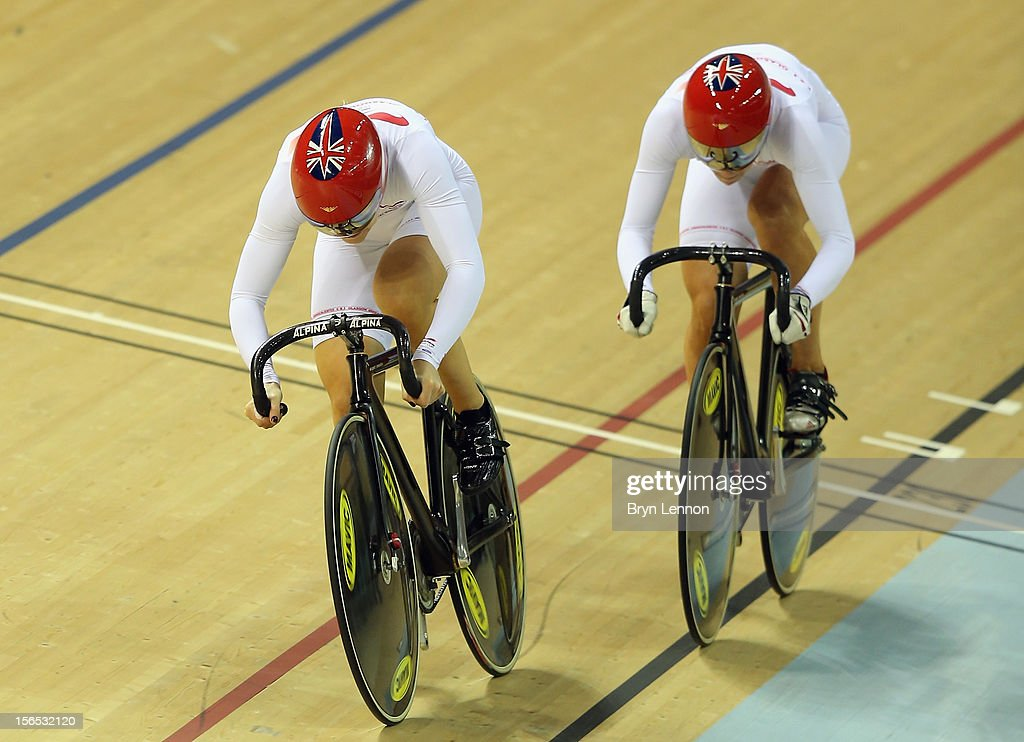 Jessica Varnish leads Rebecca James of Great Britain on their way to winning the Women's Team Sprint during day one of the UCI Track Cycling World Cup at the Sir Chris Hoy Velodrome on November 16, 2012 in Glasgow, Scotland.