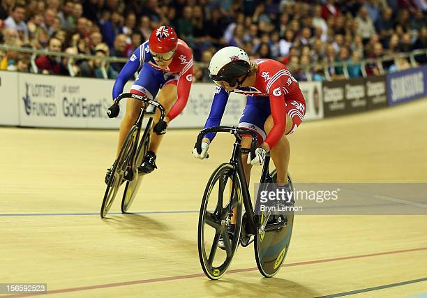Jessica Varnish of Great Britain competes against Rebecca James in the semifinal of the Women's Sprint during day two of the UCI Track Cycling World...