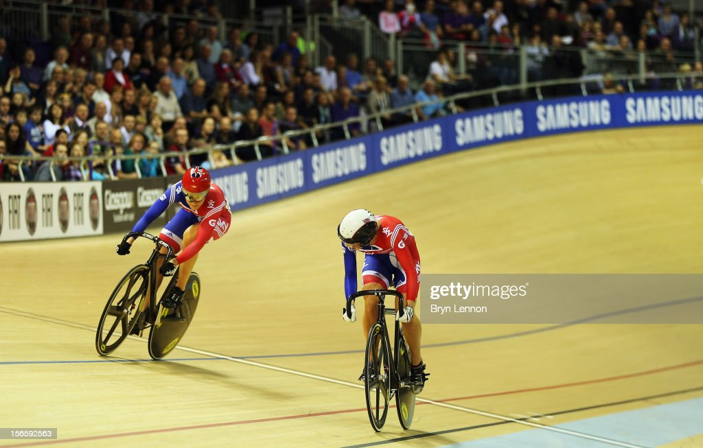 Jessica Varnish (l) of Great Britain competes against Rebecca James in the semi-final of the Women's Sprint during day two of the UCI Track Cycling World Cup at Sir Chris Hoy Velodrome on November 17, 2012 in Glasgow, Scotland.