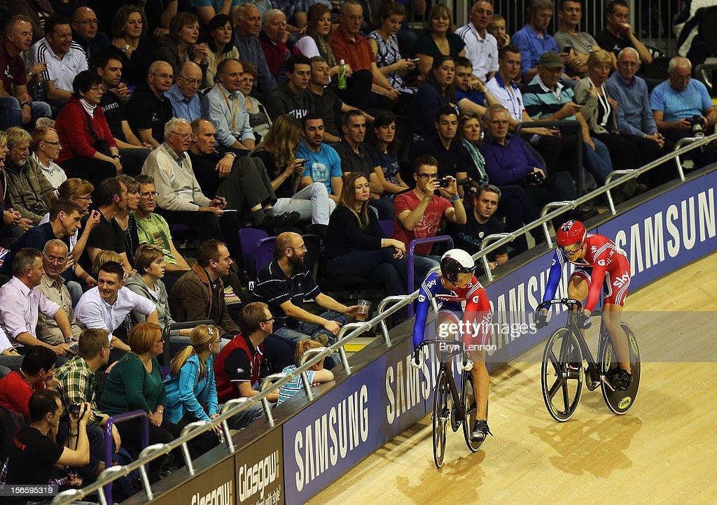 Jessica Varnish (r) of Great Britain competes against Rebecca James in the semi-final of the Women's Sprint during day two of the UCI Track Cycling World Cup at Sir Chris Hoy Velodrome on November 17, 2012 in Glasgow, Scotland.