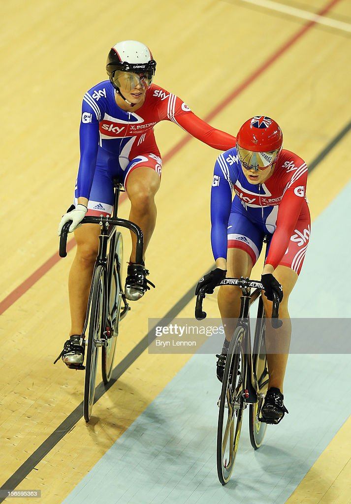 Jessica Varnish (r) of Great Britain is congratulated by team mate Rebecca James (l) after their semi-final of the Women's Sprint during day two of the UCI Track Cycling World Cup at Sir Chris Hoy Velodrome on November 17, 2012 in Glasgow, Scotland.
