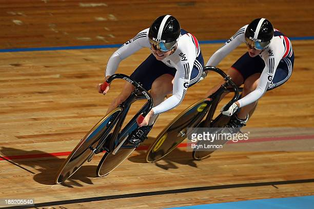 Jessica Varnish of Great Britain leads team mate Rebecca James during the Women's Sprint Qualifying during day one of the 2013 European Elite Track...