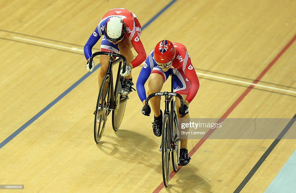 Jessica Varnish (r) of Great Britain rides against against Rebecca James in the semi-final of the Women's Sprint during day two of the UCI Track Cycling World Cup at Sir Chris Hoy Velodrome on November 17, 2012 in Glasgow, Scotland.