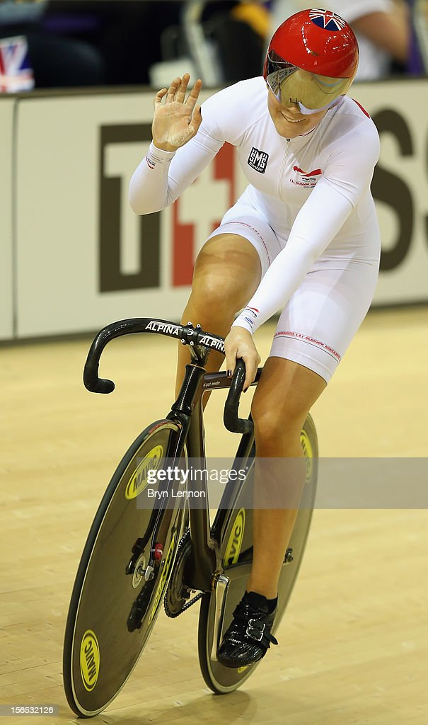 Jessica Varnish of Great Britain waves to the crowds after winning the Women's Team Sprint during day one of the UCI Track Cycling World Cup at the Sir Chris Hoy Velodrome on November 16, 2012 in Glasgow, Scotland.