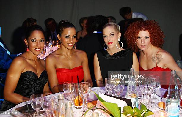 Jessica Wahls Nadja Benaissa Sandy Moelling and Lucy Diakovska of No Angels attend amfAR Milano 2009 Dinner the Inaugural Milan Fashion Week event at...