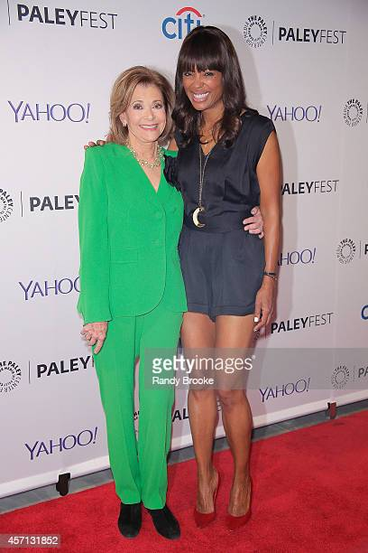 Jessica Walter and Aisha Tyler at Paley Center For Media on October 12 2014 in New York New York