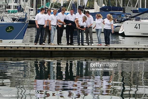 Jessica Watson poses with crew mates during a media conference to announce her next project which is to skipper the youngest ever crew in the 2011...