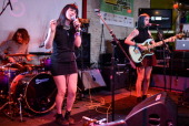 Jessica Weiss and Robyn Edwards of the band Fear of Men perform on stage at The British Music Embassy Latitude 30 during Day 5 of SXSW 2013 Music...