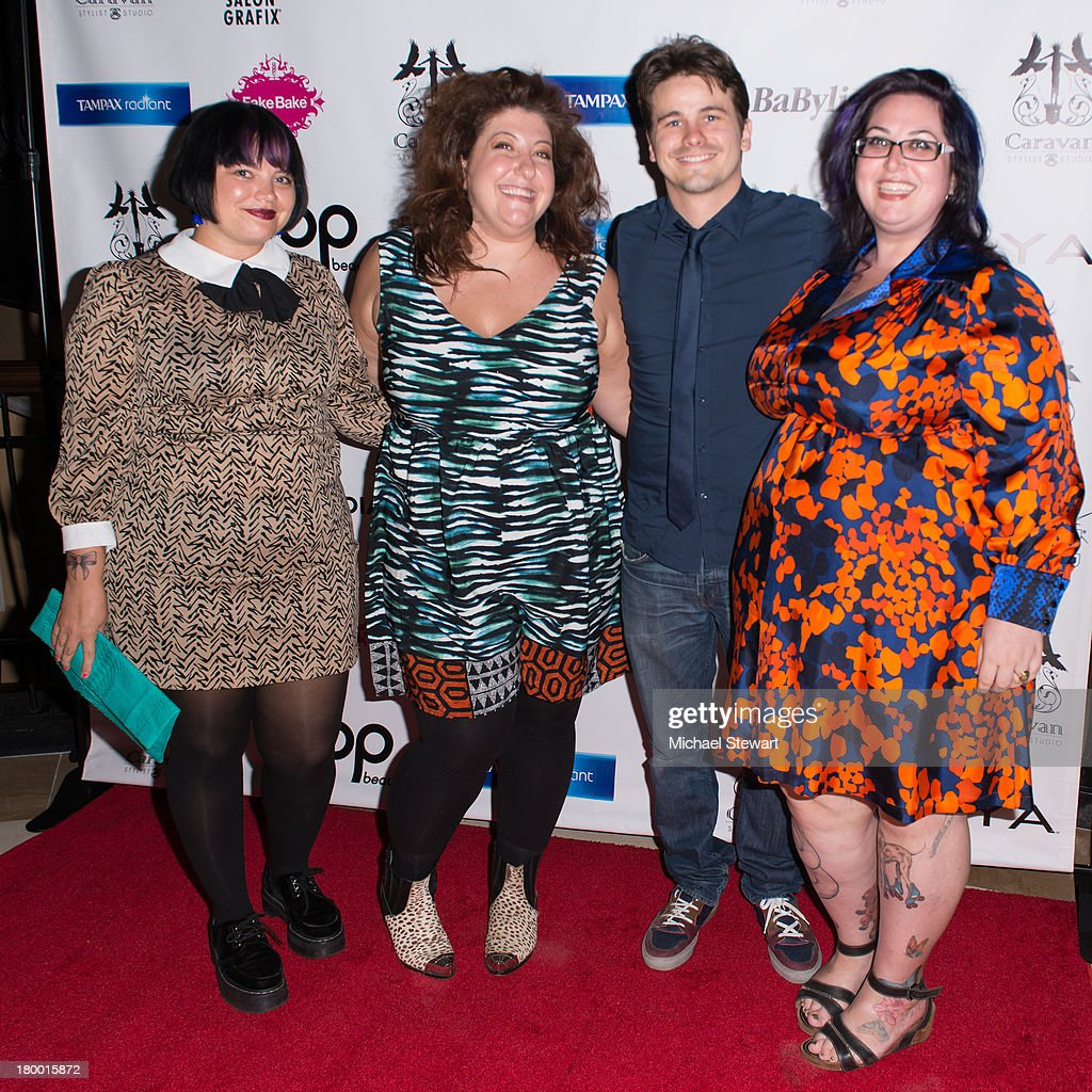 Jessica Whalen, Ashley Atkinson, Jason Ritter and Eden Miller attend Caravan Stylist Studio's Fashion Week Soiree at Carlton Hotel on September 7, 2013 in New York City.