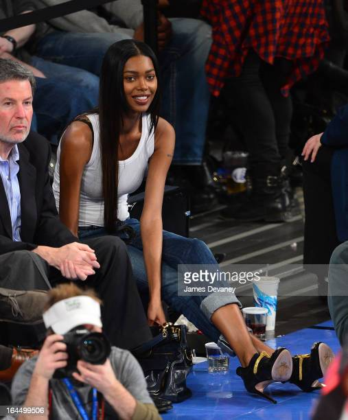 Jessica White attends the Toronto Raptors vs New York Knicks game at Madison Square Garden on March 23 2013 in New York City