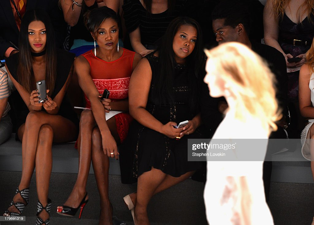 Jessica White; Patina Miller, Amber Riley and J. Alexander attend the Tadashi Shoji Spring 2014 fashion show during Mercedes-Benz Fashion Week at The Stage at Lincoln Center on September 5, 2013 in New York City.