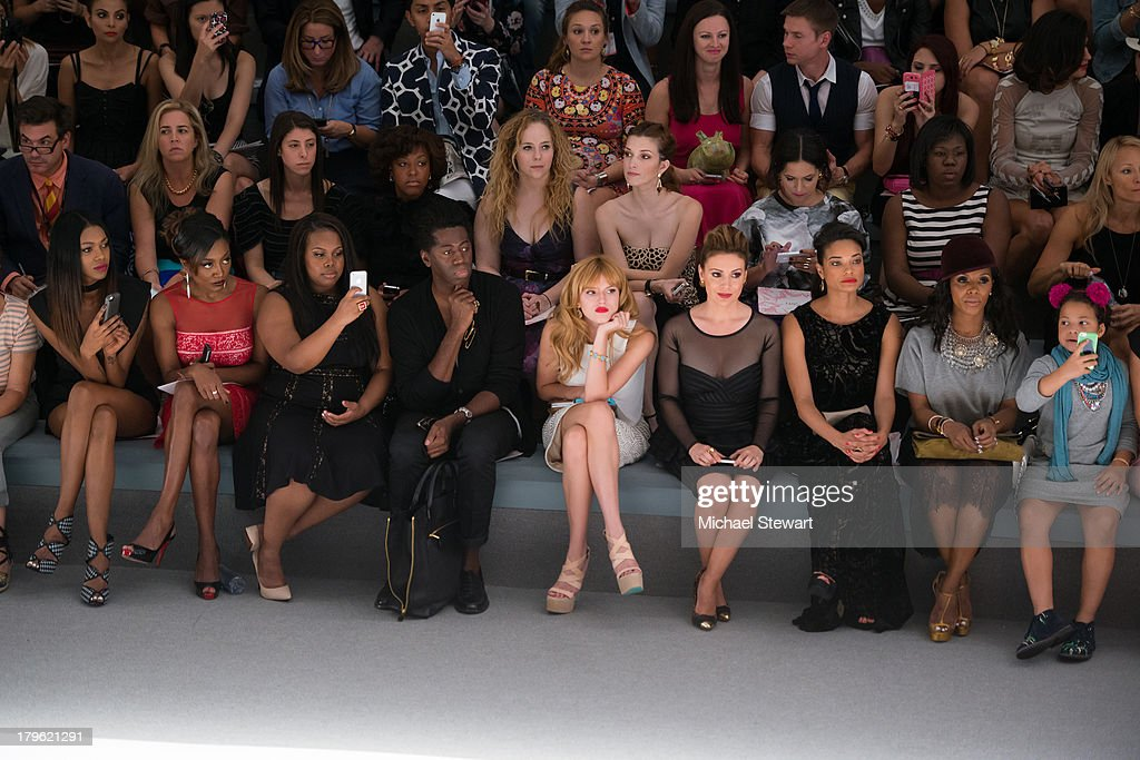 Jessica White; Patina Miller, Amber Riley, J. Alexander, Bella Thorne, Alyssa Milano, Rochelle Aytes and June Ambrose attends the Tadashi Shoji show during Spring 2014 Mercedes-Benz Fashion Week at The Stage at Lincoln Center on September 5, 2013 in New York City.