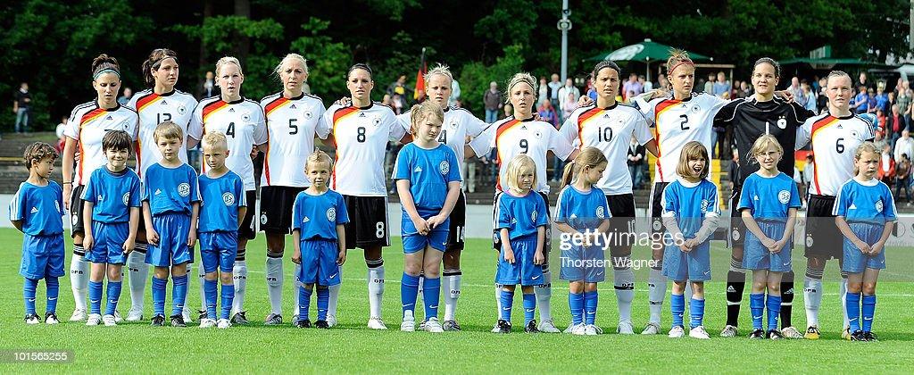 Jessica Wich, Sylvia Arnold, Marith Priessen, Kristina Gessat, Selina Wagner, Laura Brosius, Svenja Huth, Dzenifer Marozsan, Stefanie Mirlach, Desiree Schumann, Marina Hegering pose in prior to the U20 international friendly match between Germany and South Korea at Waldstadion on June 2, 2010 in Giessen, Germany.