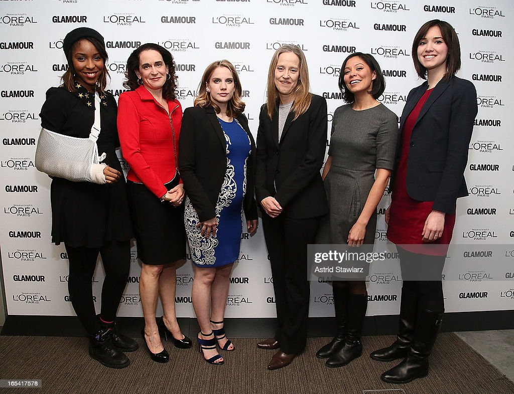 Jessica Williams, Debora L. Spar, Anna Chlumsky, Wendy Kopp, Alex Wagner and Rachel Sterne Haot attend the Glamour And L'Oreal Paris Celebration for the Top Ten College Women at The Diana Center At Barnard College on April 3, 2013 in New York City.